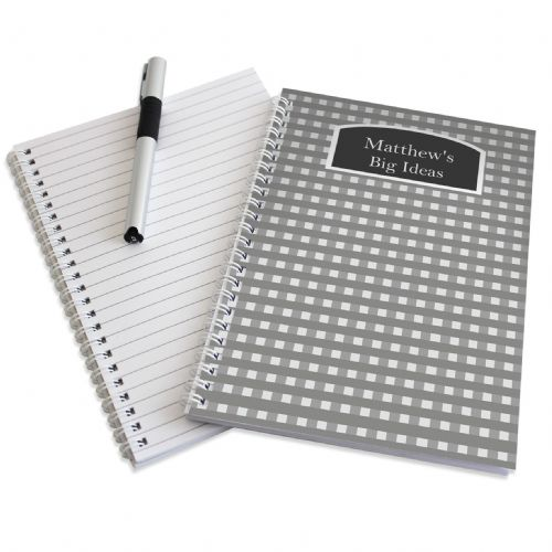 Personalised Grey Gingham A5 Notebook